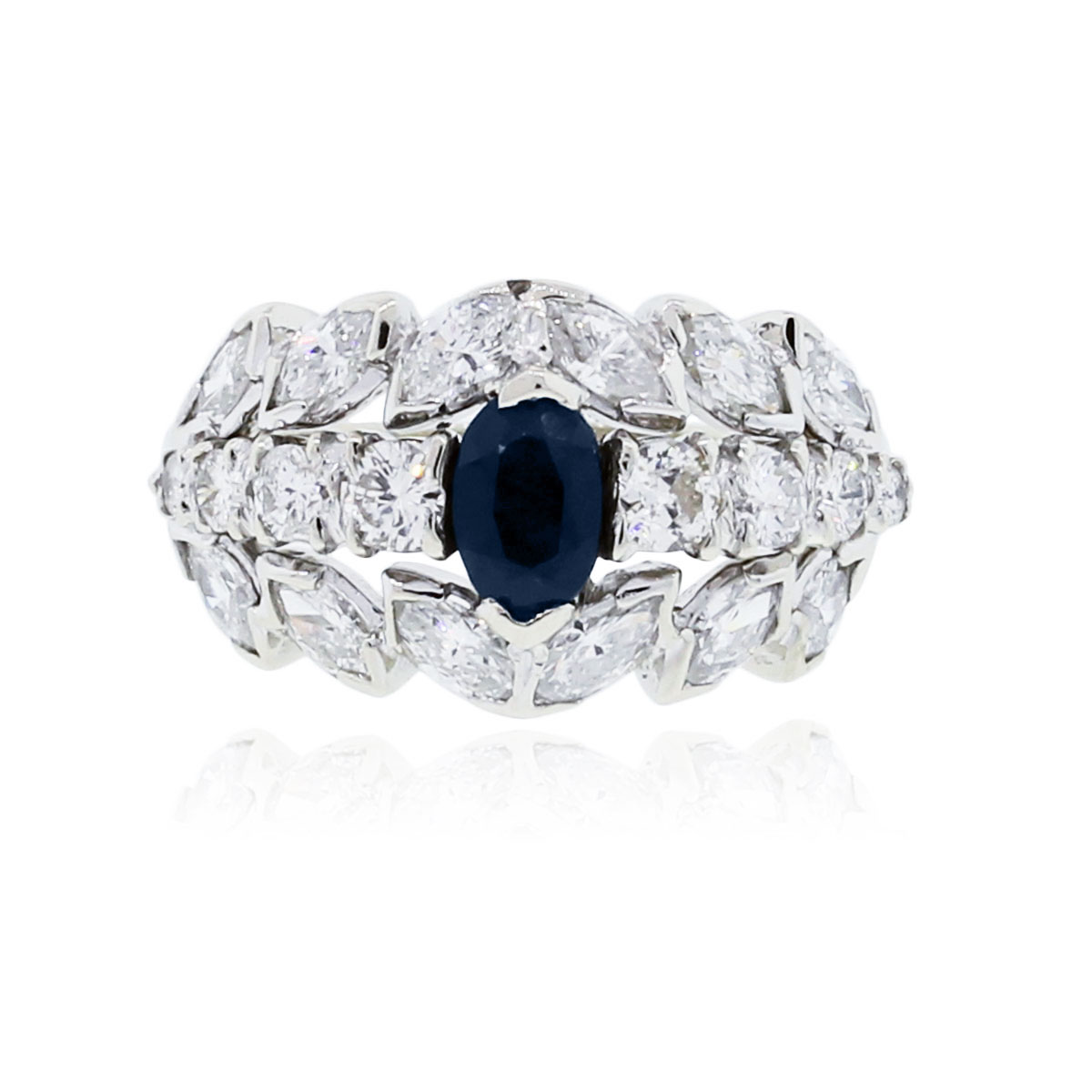 14k white gold 1 50ctw oval sapphire ring