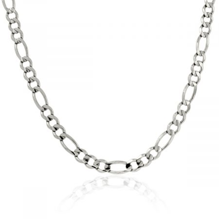 Figaro Link 14K White Gold Chain Necklace
