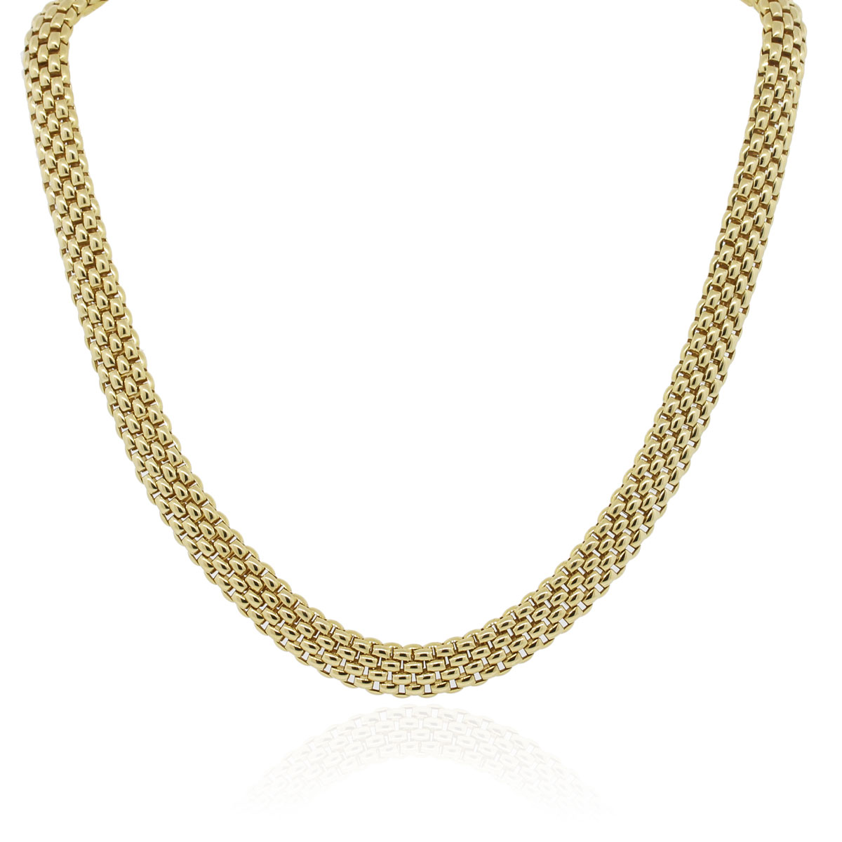 Fope 18k Yellow Gold Thick Woven Chain Necklace