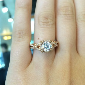 Verragio yellow gold infinity band engagement ring