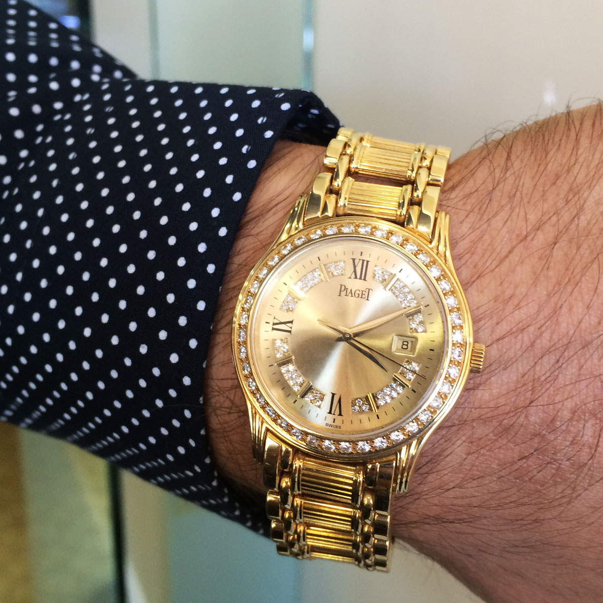 Piaget polo 24005 m 501 d 18k yellow gold diamond watch for Gold timepieces watch