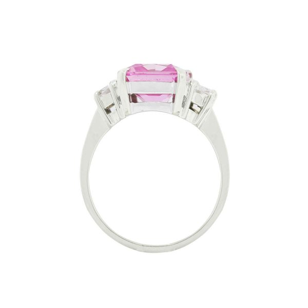 White Gold Ring with Pink CZ Radiant