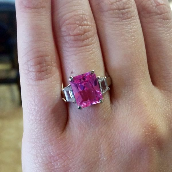 14k White Gold Pink CZ Radiant Ring with CZ Trapezoids