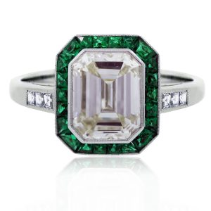 Platinum DIamond Emerald Halo Ring
