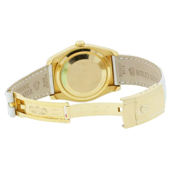 rolex gold leather watch