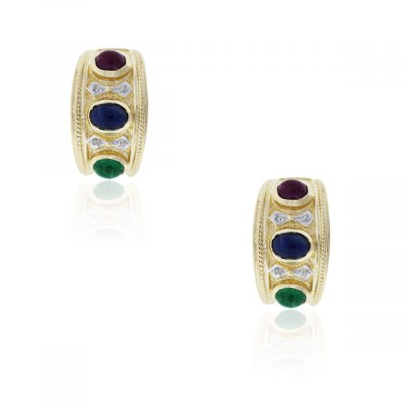 14k Gold Ruby Sapphire Emerald and Diamond Earrings
