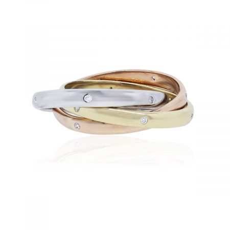 Tri Tone Rolling Ring with Diamonds