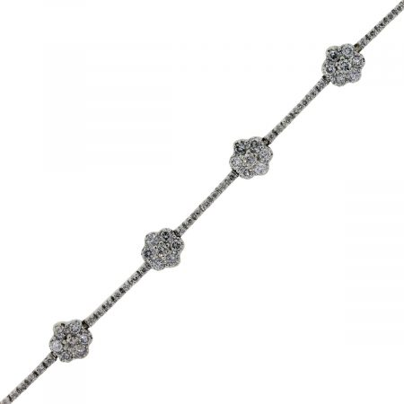 white gold diamond floaral bracelet