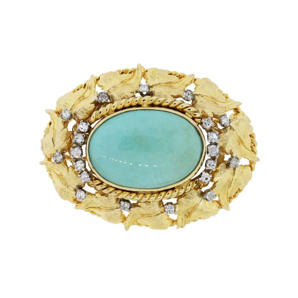 yellow gold diamond turquoise vintage brooch