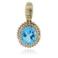14k Yellow Gold Blue Topaz .70ctw Diamond Pendant