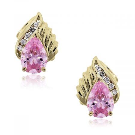 yellow gold pink crystal earrings