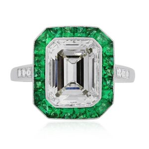 3ct emerald halo diamond ring