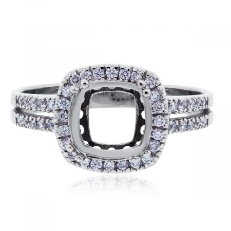 white gold diamond halo mounting