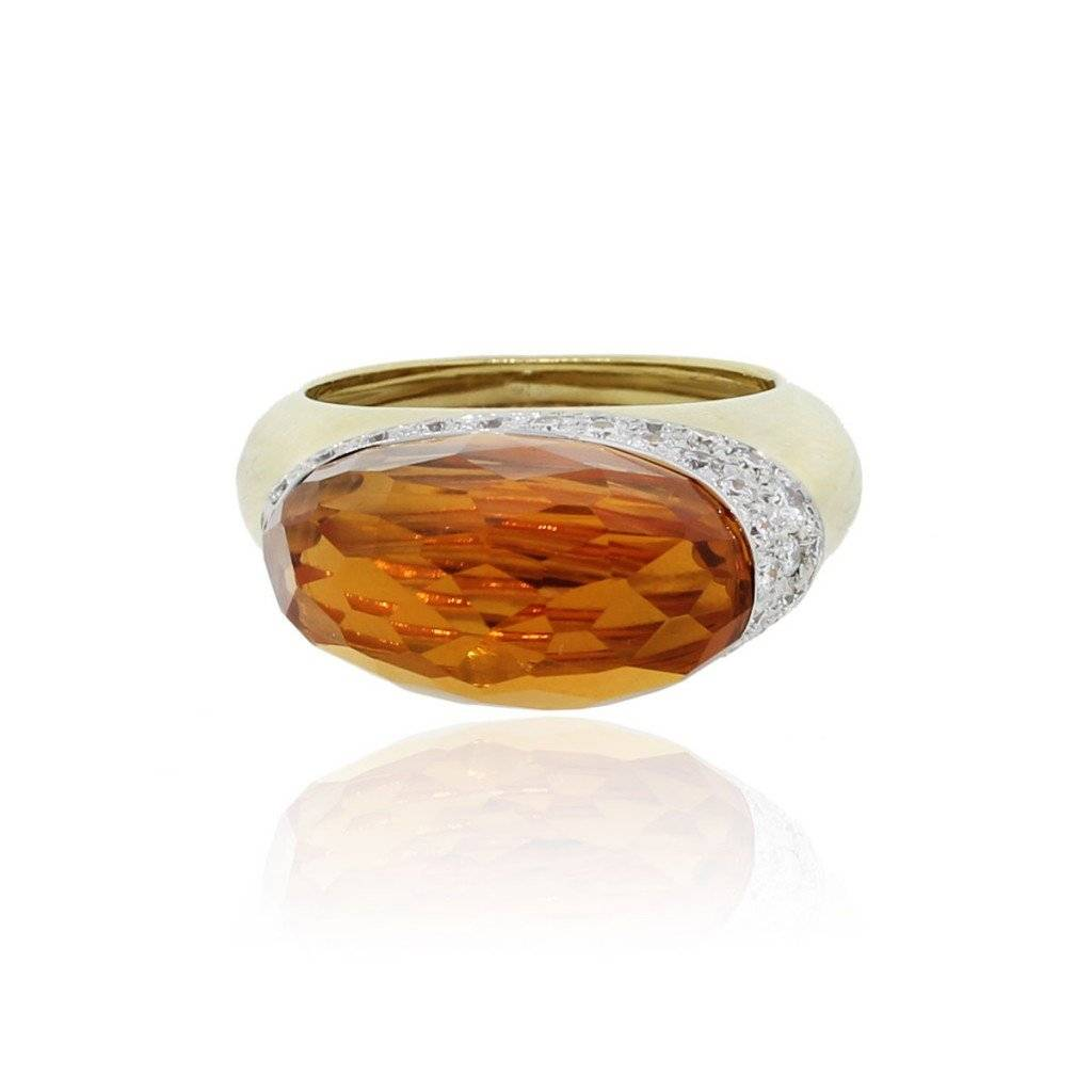 18k Yellow Gold Citrine and Diamond Cocktail Ring