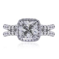 Uneek 14k White Gold 3.02ct Cushion Cut GIA Certified Diamond Engagement Ring