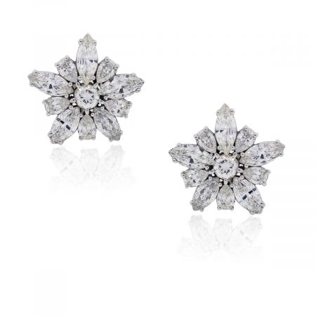 Diamond Flower Earrings