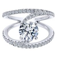 Gabriel & Co. 14k White Gold Diamond Split Shank Engagement Ring Mounting