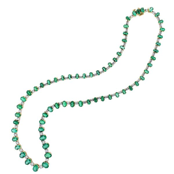 Necklace with emeralds and diamonds