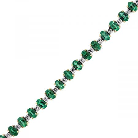 Two Tone Emerald Diamond Tennis Bracelet