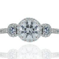 RITANI Three-Stone Halo 0.69ctw Diamond Engagement Ring