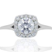 RITANI French-Set Halo 0.22ctw Diamond Engagement Ring