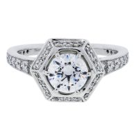 RITANI Vintage Hexagonal Halo 0.44ctw Diamond Engagement Ring