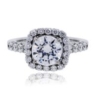 RITANI 0.86ctw Cushion Halo Diamond Engagement Ring