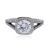 RITANI 0.43ctw Diamond Cushion Halo Engagement Ring