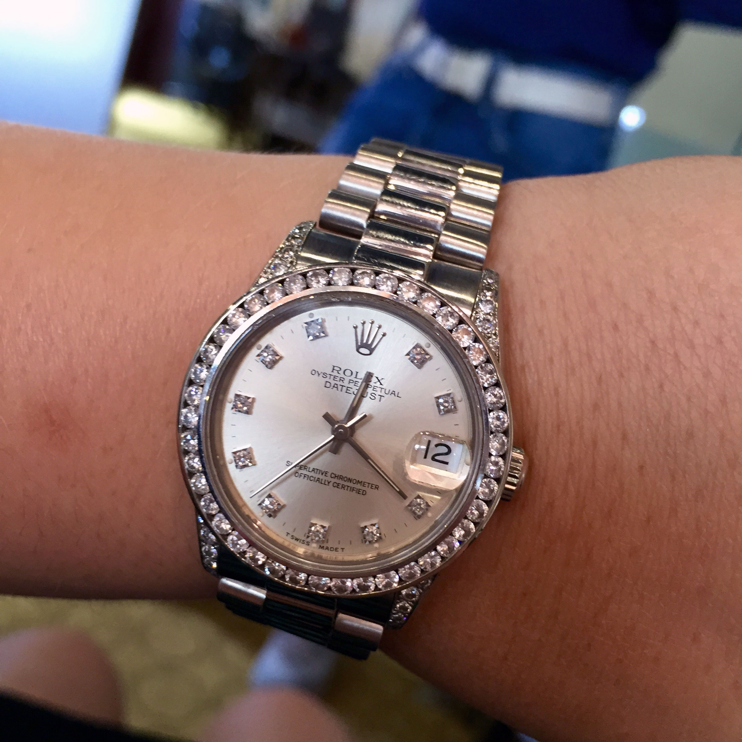 Rolex 68279 Datejust Midsize 18k White Gold Presidential ...