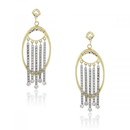14k white and yellow gold earrings