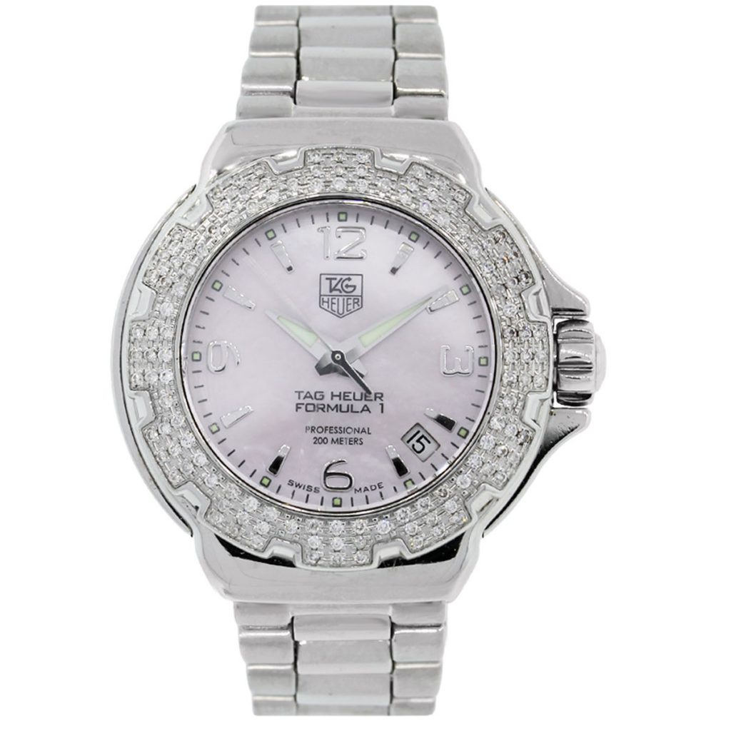 Tag heuer wac1215 formula one diamond bezel mop dial ladies watch for Tag heuer women
