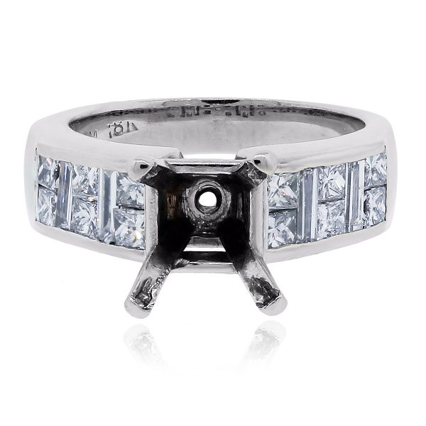White Gold Princess and Baguette diamond mounting