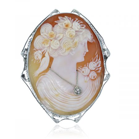 Large White Gold Diamond Cameo pin