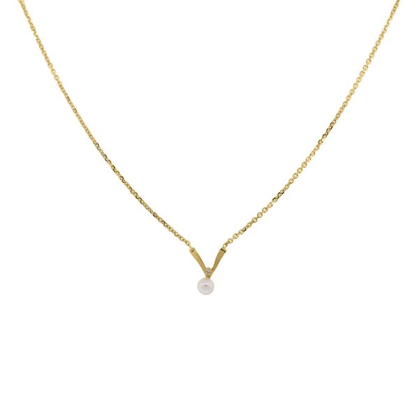 yellow gold pearl diamond necklace