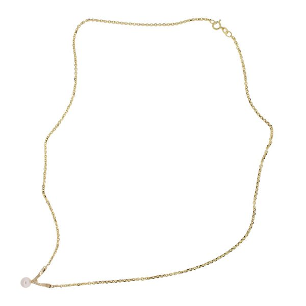 yellow gold diamond pearl necklace