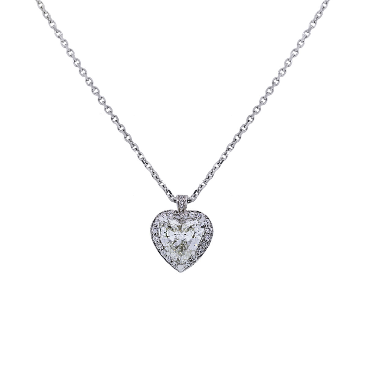 gia certified diamond heart necklace