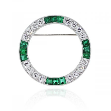 Diamond & Emerald Brooch