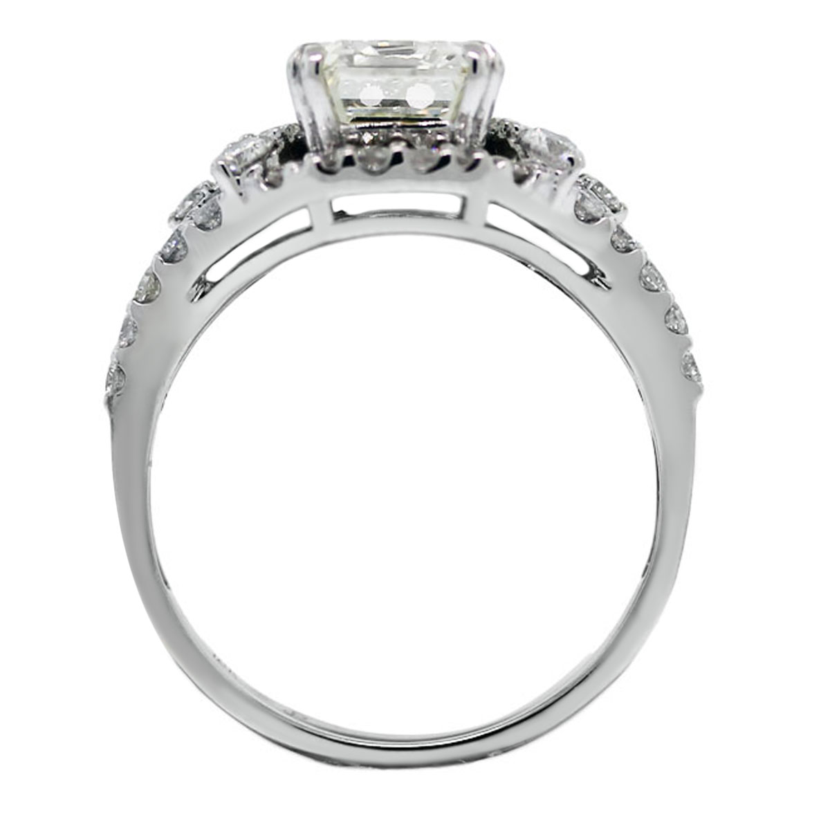 18k white gold 3ct emerald cut engagement ring
