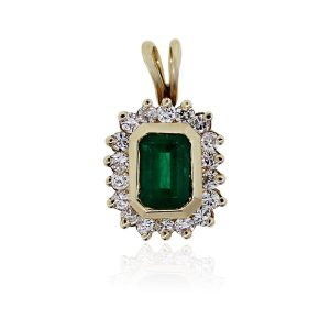 Emerald Pendant with Diamonds