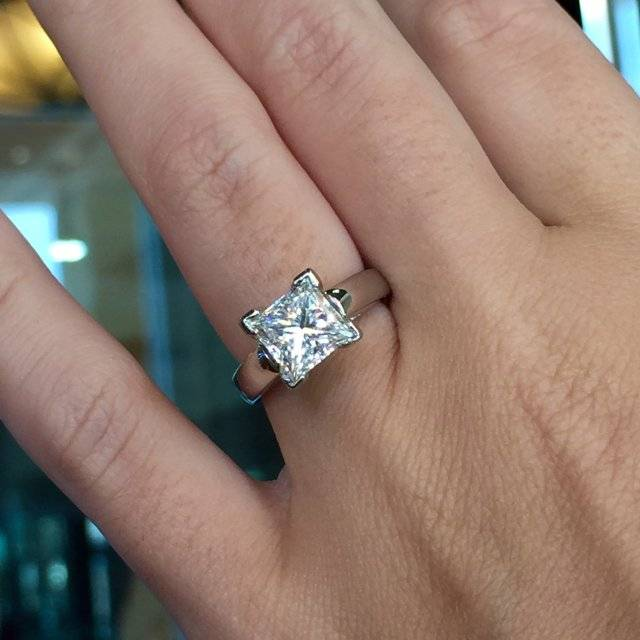 2 carat Princess Cut Solitaire Engagement ring
