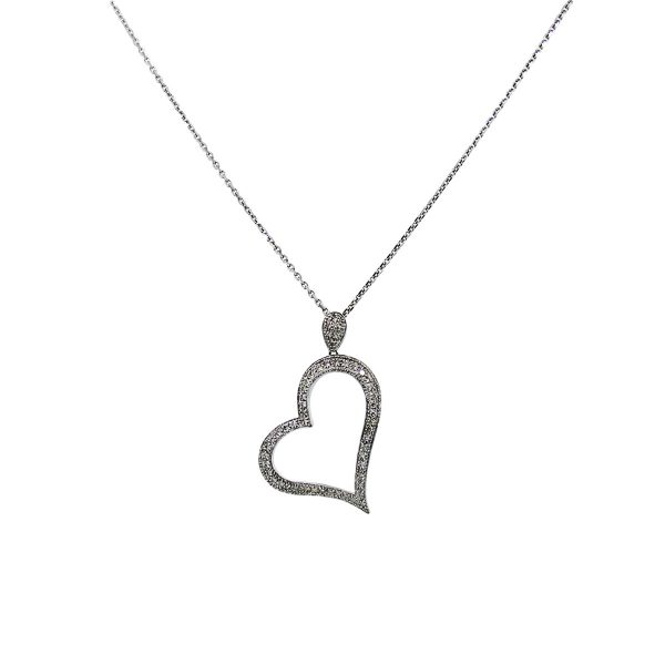 Heart necklace with dimaonds
