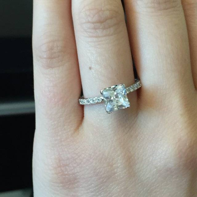 A. Jaffe engagement ring solitaire princess cut on diamond band
