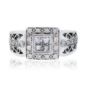 14k white gold princess cut diamond mounting