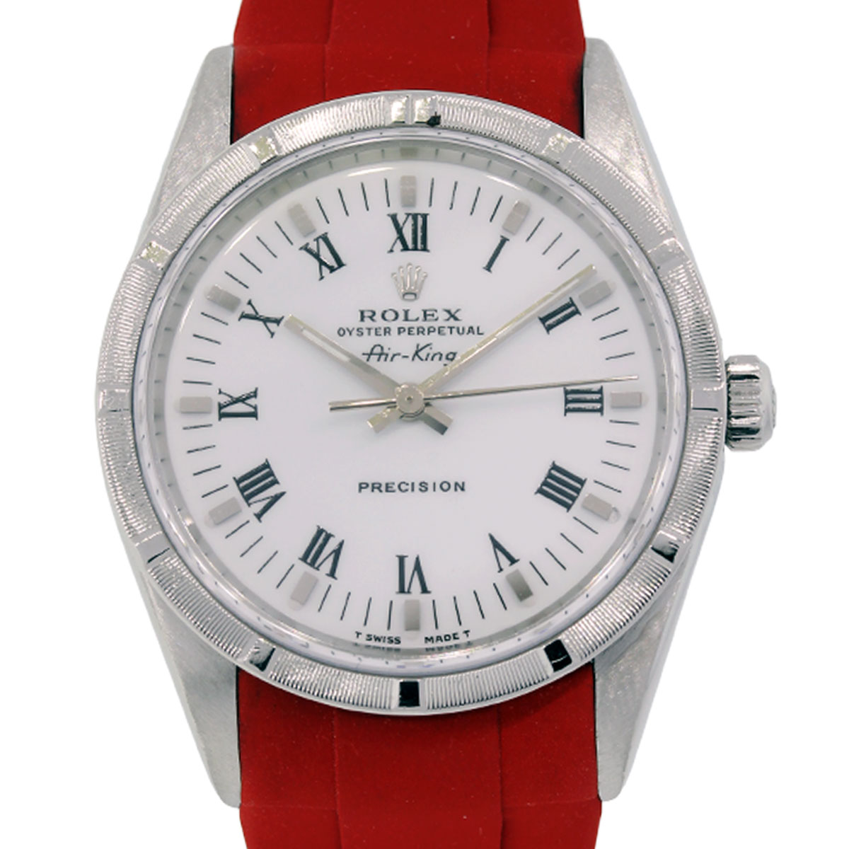 Rolex 14010 air king steel on red rubber strap watch for Rolex air king