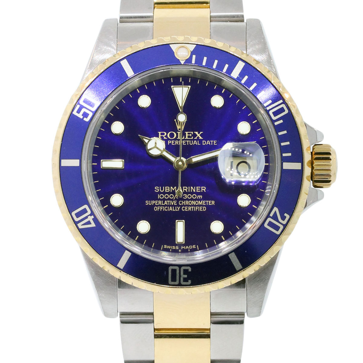 rolex 16613 submariner date two tone blue dial watch. Black Bedroom Furniture Sets. Home Design Ideas