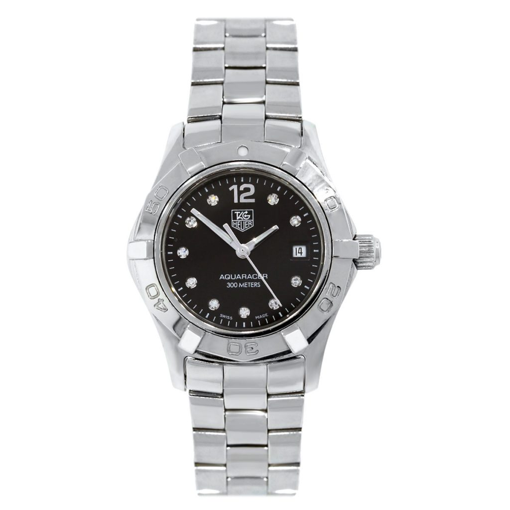 Tag heuer waf141c aquaracer diamond dial ladies watch for Diamond dial watch