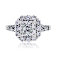 18k White Gold 1.61ct EGL Certified Cushion Cut Diamond Halo Engagement Ring