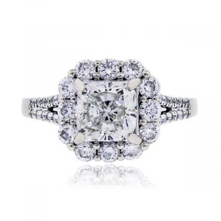 White Gold EGL certified Cushion cut engagement ring