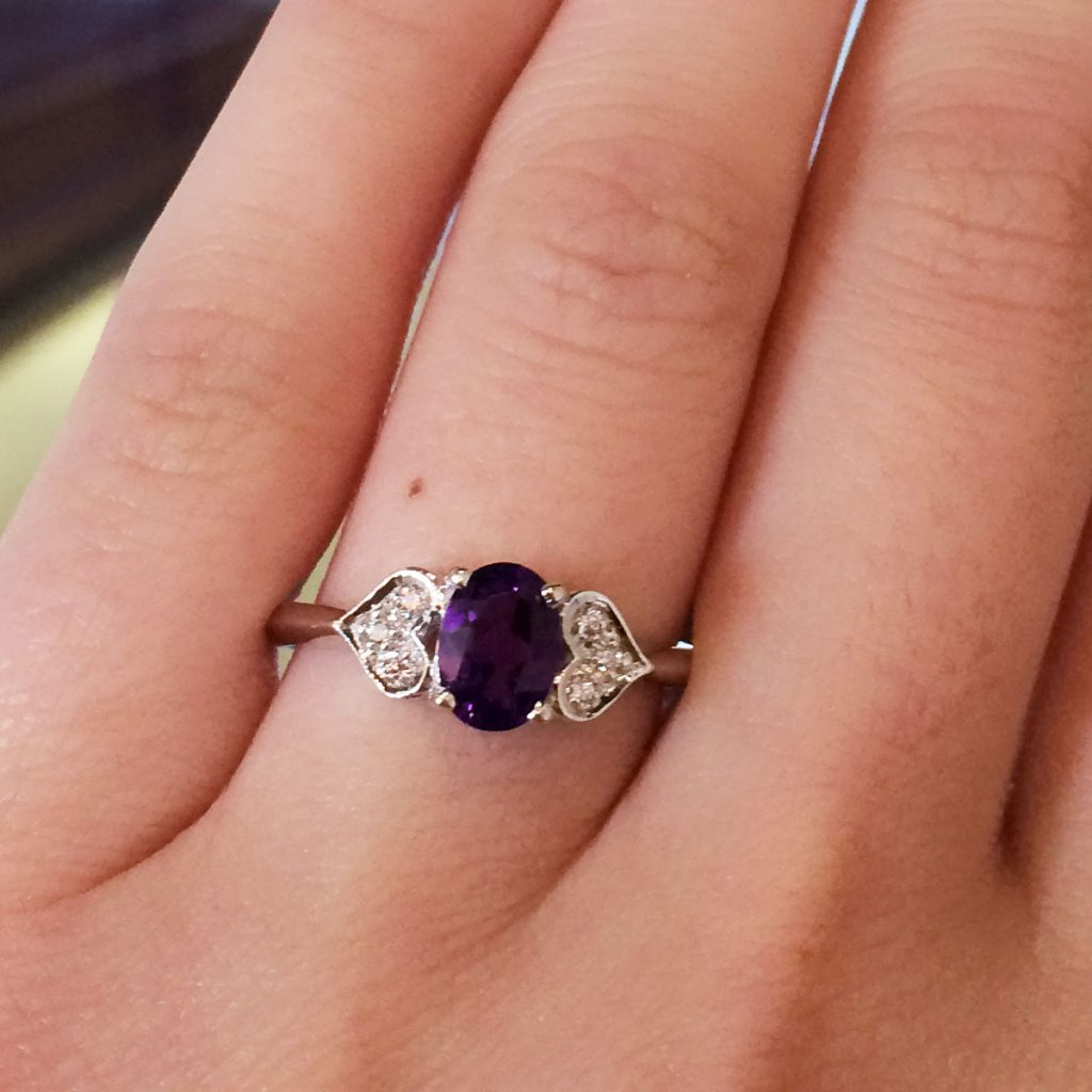 14k white gold 10ctw diamond and amethyst heart ring. Black Bedroom Furniture Sets. Home Design Ideas