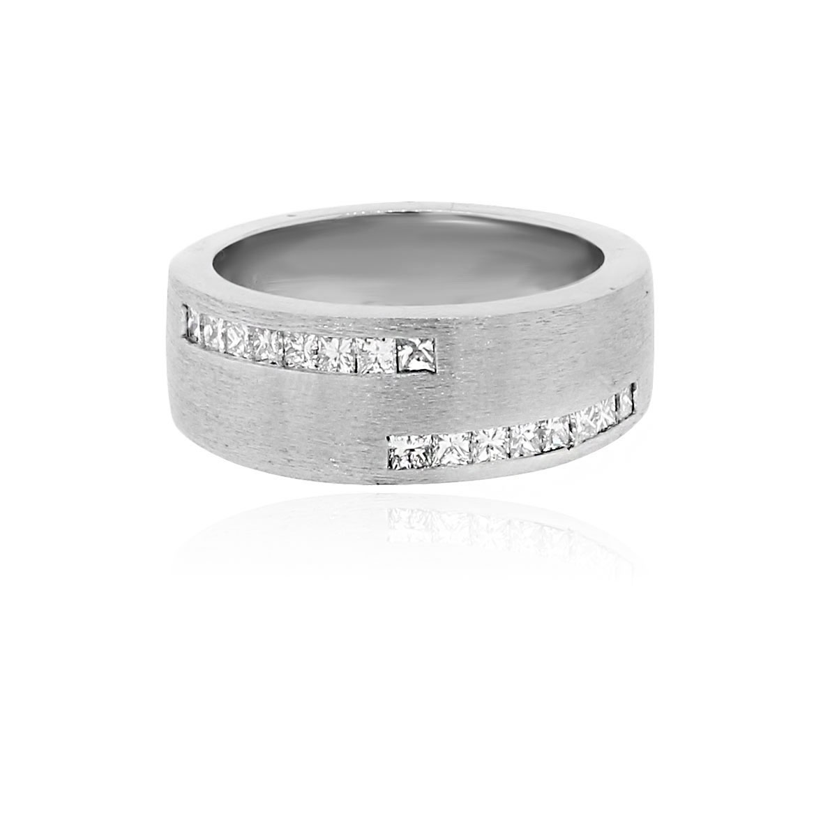 14k White Gold 61ctw Diamond Mens Wedding Band